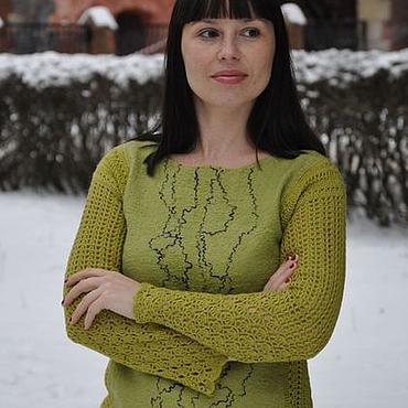 """Одежда ручной работы. Ярмарка Мастеров - ручная работа Вязано-валяный свитер """"Маслины"""". Handmade."""