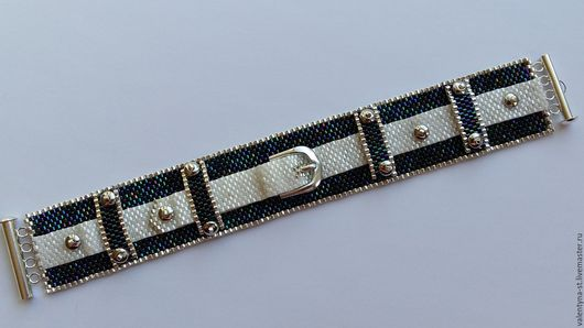 Браслеты ручной работы. Ярмарка Мастеров - ручная работа. Купить Стильный браслет из японского бисера. Handmade. Комбинированный, кежуал, джинс