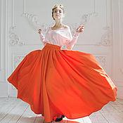 Одежда ручной работы. Ярмарка Мастеров - ручная работа Оранжевая юбка-макси.. Handmade.