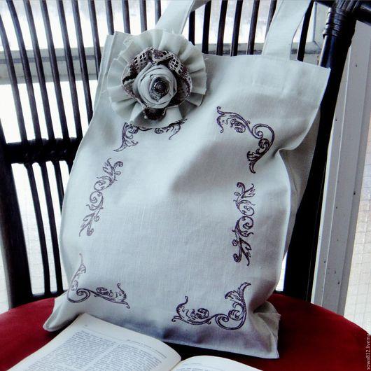 Сумки и аксессуары ручной работы. Ярмарка Мастеров - ручная работа. Купить Льняная сумка с машинной вышивкой «нежность». Handmade. Белый
