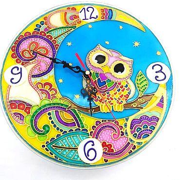 Для дома и интерьера ручной работы. Ярмарка Мастеров - ручная работа Часы: витражные Совушка на луне 23 см. Handmade.