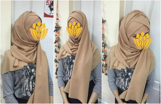 Этническая одежда ручной работы. Ярмарка Мастеров - ручная работа. Купить Хиджаб султанка темно беж. Handmade. Бежевый, платок