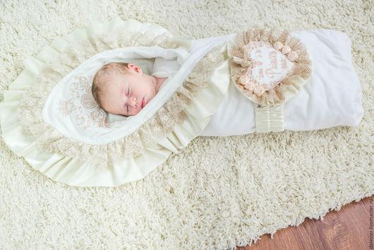 """Для новорожденных, ручной работы. Ярмарка Мастеров - ручная работа. Купить Зимнее/демисезонное/летнее одеяло на выписку """"Валерия"""". Handmade. Бежевый, на выписку"""
