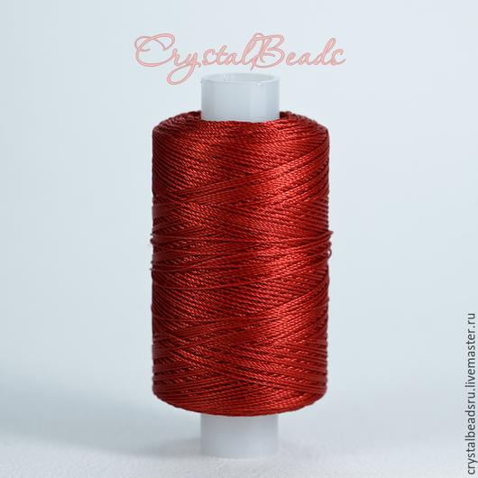 Лавсановые нитки 86л, темно-красного цвета. Лавсановая нить гладкая и прочная, подойдет для плетения в технике анкарс. Лавсановые нитки купить Вы можете в магазине CrystalBeads, большая палитра цвета.