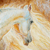 "Картины и панно handmade. Livemaster - original item Origonal painting ""White Horse"" oil, anvas, inch 15,75x19,69. Handmade."