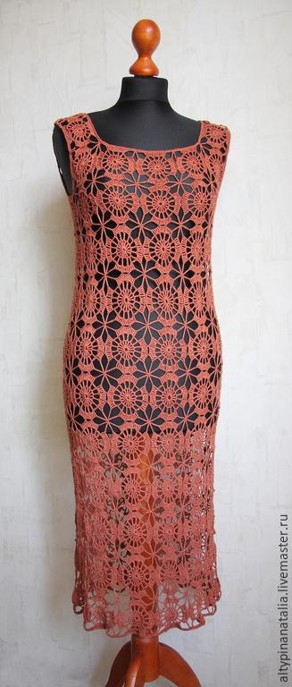 Ажурное терракотовое платье связанное крючком. Мягкая, струящаяся вискоза. Легко садится по фигуре