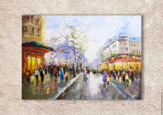 Пейзаж ручной работы. Ярмарка Мастеров - ручная работа. Купить Картина маслом Весенний Париж,  размер 50х70см. Handmade. Комбинированный