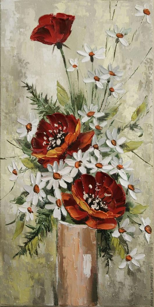 Картины цветов ручной работы. Ярмарка Мастеров - ручная работа. Купить красное и белое. Handmade. Комбинированный, картина в подарок