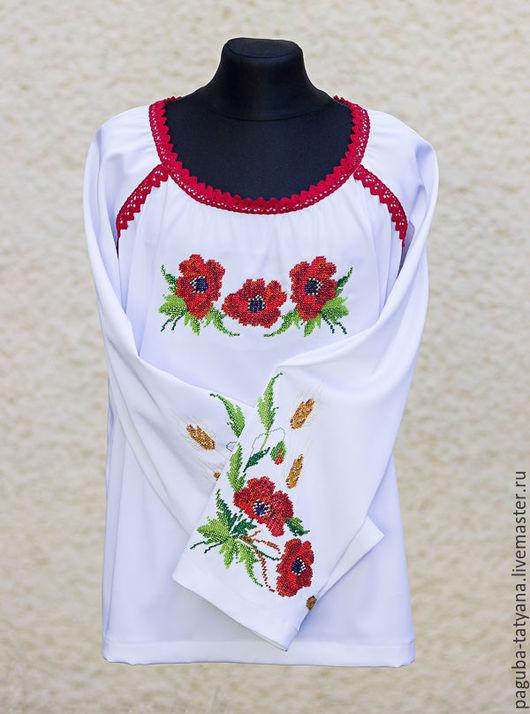 """Одежда для девочек, ручной работы. Ярмарка Мастеров - ручная работа. Купить Блуза для девочки """"Маки и колоски"""". Handmade. Платье для девочки"""