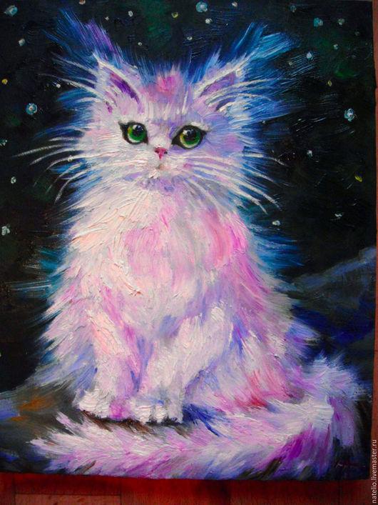 Животные ручной работы. Ярмарка Мастеров - ручная работа. Купить звёзды. Handmade. Кошка, ночь, белая кошка, холст на подрамнике
