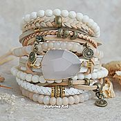 Украшения handmade. Livemaster - original item Boho beige leather bracelet