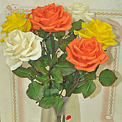 Цветы и флористика ручной работы. Ярмарка Мастеров - ручная работа Яркий букет роз. Handmade.