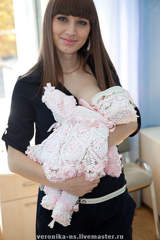 """Для новорожденных, ручной работы. Ярмарка Мастеров - ручная работа. Купить Комплект """"Ангелочек"""". Handmade. Одежда для новорожденных, платье для девочки"""