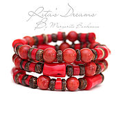 Украшения handmade. Livemaster - original item Multi-row bracelet of coral and coconut on the wire with the red memory. Handmade.
