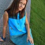 """Одежда ручной работы. Ярмарка Мастеров - ручная работа Платье """"Травы на бирюзе""""Резерв. Handmade."""