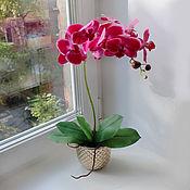 Цветы и флористика ручной работы. Ярмарка Мастеров - ручная работа Орхидея в золотом горшке. Handmade.