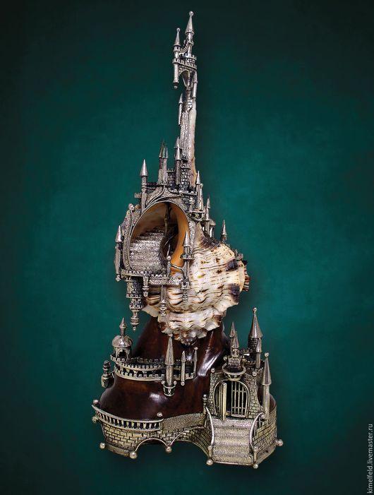 Персональные подарки ручной работы. Ярмарка Мастеров - ручная работа. Купить Серебро, морская раковина - Настольная композиция Замок  подводного ца. Handmade.