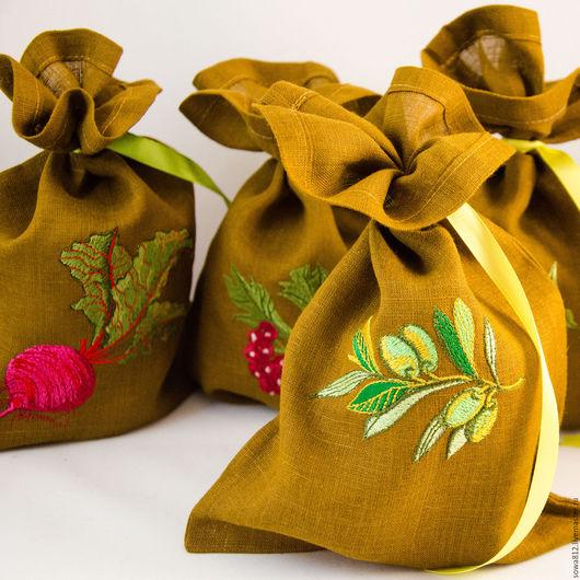 Кухня ручной работы. Ярмарка Мастеров - ручная работа. Купить Льняные мешочки для хранения с машинной вышивкой (в ассортименте). Handmade.