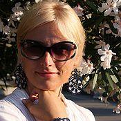 Украшения ручной работы. Ярмарка Мастеров - ручная работа Кружевные серьги «Таинственный цветок» (тёмно-синие, серебристые). Handmade.