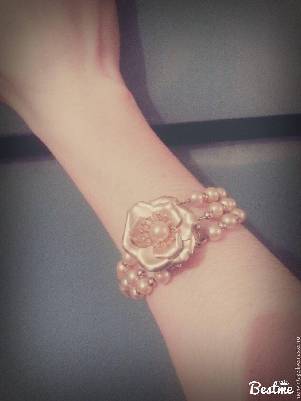 Винтаж: Винтажный браслет на кнопке Цветок, Винтажные браслеты, Солнечногорск, Фото №1
