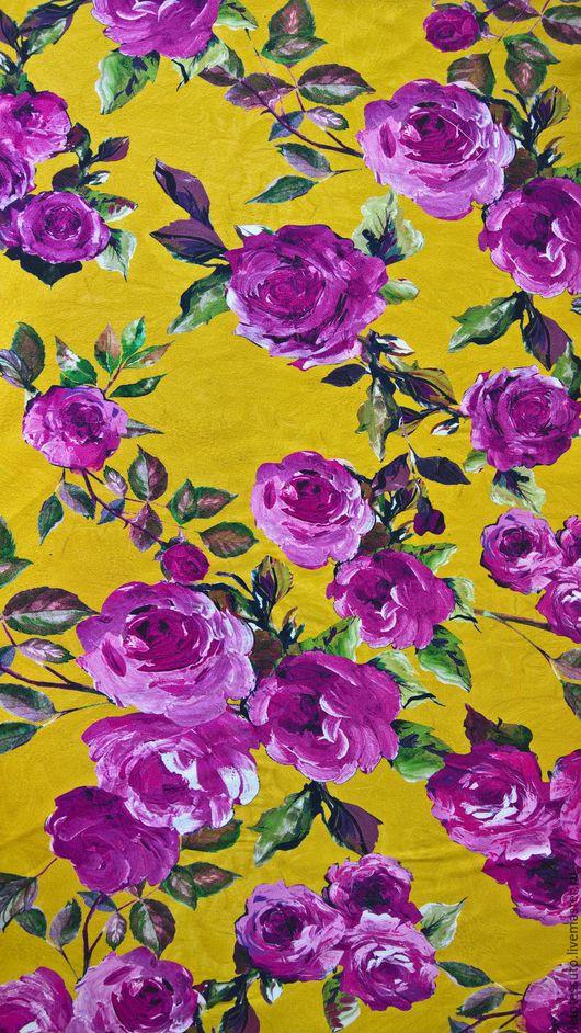 Шитье ручной работы. Ярмарка Мастеров - ручная работа. Купить Итальянский костюмно-плательный шелк D&G. Handmade. Желтый, розы