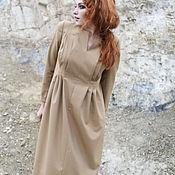 Одежда ручной работы. Ярмарка Мастеров - ручная работа Осенне-зимнее платье горчичного цвета, прямое, со складками. Handmade.