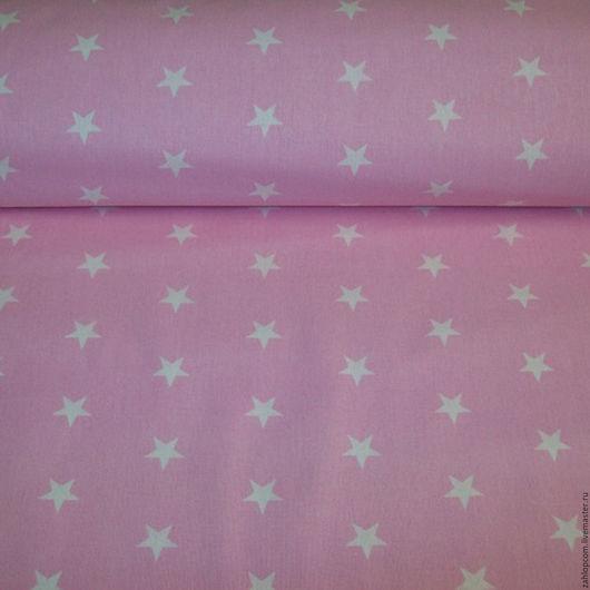 Шитье ручной работы. Ярмарка Мастеров - ручная работа. Купить Хлопок Звездочки на розовом (Польша). Handmade. Бледно-розовый, ткани
