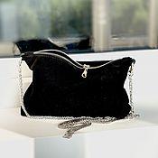 Сумки и аксессуары handmade. Livemaster - original item Evening Suede Black Clutch Bag with crossbody chain. Handmade.