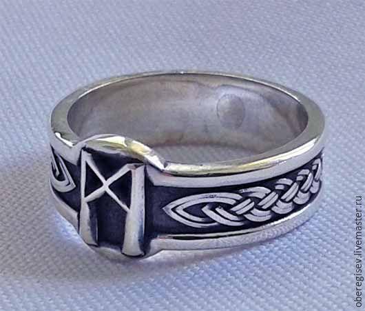 Кольцо с Руной Манназ из серебра с черением 4-6 грамм -1100руб. Под заказ 5дн.;
