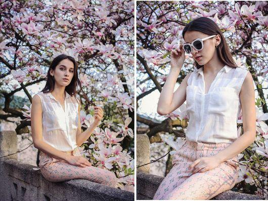 """Блузки ручной работы. Ярмарка Мастеров - ручная работа. Купить Блуза-рубашка № 34 """"Мирабель"""". Handmade. Белый"""