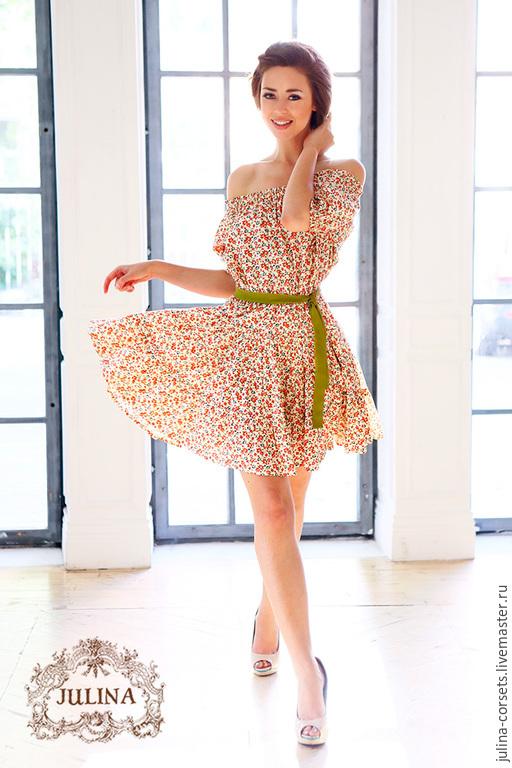 Летнее платье из хлопка в цветочек