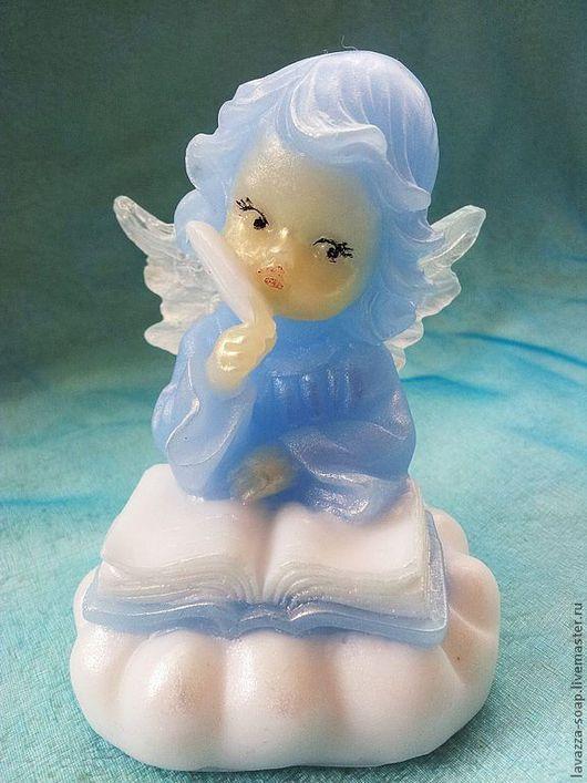 """Мыло ручной работы. Ярмарка Мастеров - ручная работа. Купить Мыло """"Ангел-писарь"""". Handmade. Голубой, ангелочки, Пасха"""