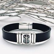 Украшения handmade. Livemaster - original item Protection - bracelet with rune Algiz, silver, leather. Handmade.