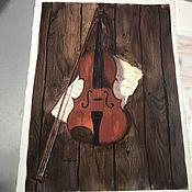 Картины ручной работы. Ярмарка Мастеров - ручная работа Акварель «Скрипка». Handmade.