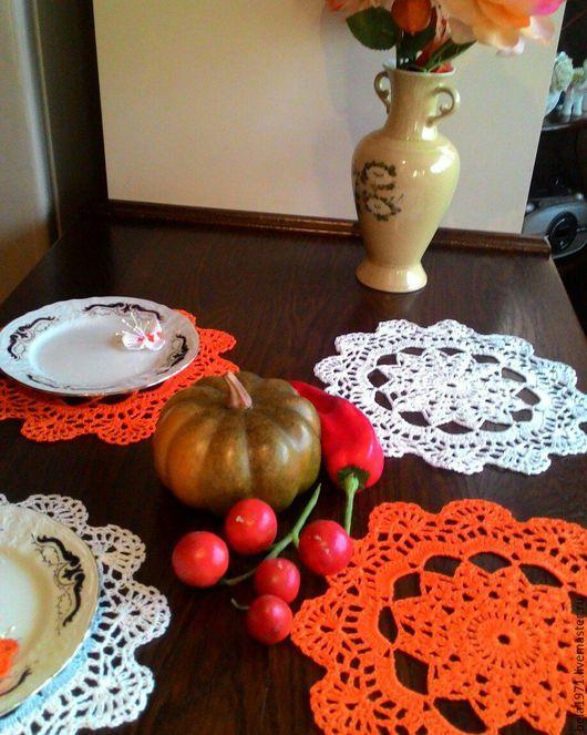Текстиль, ковры ручной работы. Ярмарка Мастеров - ручная работа. Купить салфетка вязаная. Handmade. Белый, мятный