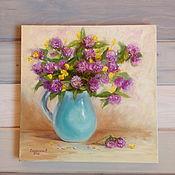 Картины и панно handmade. Livemaster - original item Oil painting Clover in a vase. Handmade.