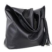 Сумки и аксессуары handmade. Livemaster - original item bag package leather black bag medium leather string bag shopper t shirt. Handmade.