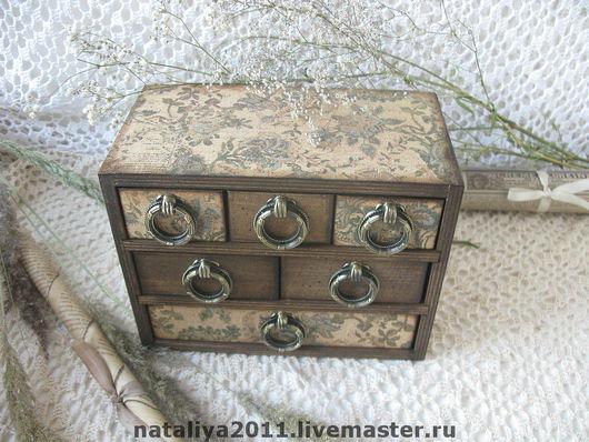 Small Drawers handmade. Livemaster - handmade. Buy Mini-chest'the Old date'.Mini chest of drawers, retro