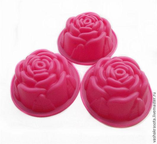 Материалы для косметики ручной работы. Ярмарка Мастеров - ручная работа. Купить Розочка  -  силиконовая форма для мыла. Handmade. Розовый