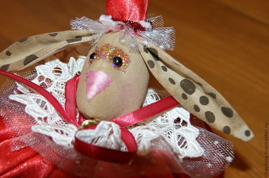 Игрушки животные, ручной работы. Ярмарка Мастеров - ручная работа. Купить Кролик-шар на елку. Handmade. Ярко-красный, кролик
