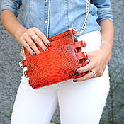 Сумки и аксессуары handmade. Livemaster - original item Red Shiny Python leather handbag. Handmade.