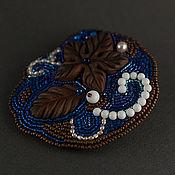 Украшения ручной работы. Ярмарка Мастеров - ручная работа брошь Южная ночь (темно-синяя шоколад жемчуг листья). Handmade.