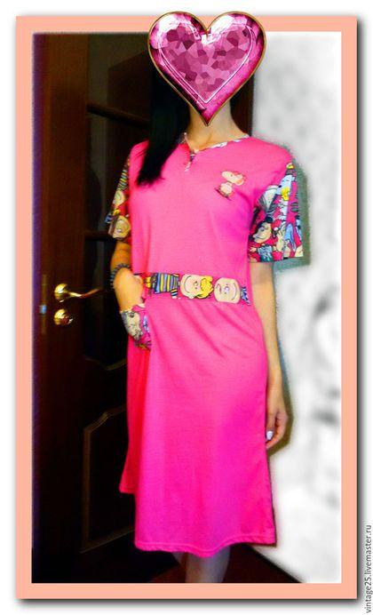 Одежда. Ярмарка Мастеров - ручная работа. Купить Домашнее платье 80 е годы Новое. Handmade. Розовый