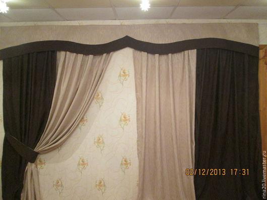 Текстиль, ковры ручной работы. Ярмарка Мастеров - ручная работа. Купить Шторы для гостиной. Handmade. Коричневый, шторы