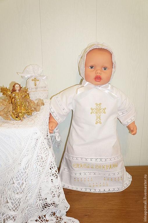 Крестильные принадлежности ручной работы. Ярмарка Мастеров - ручная работа. Купить Крестильная рубашка - 8. Handmade. Белый, крестильное
