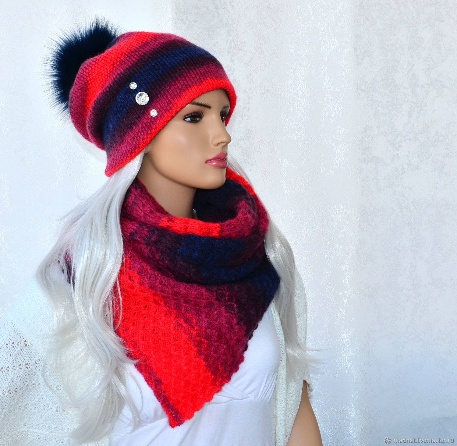 Set women's knitted: double hat scarf ' Fire', Caps, Moscow,  Фото №1