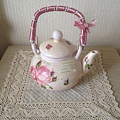 """Посуда ручной работы. Ярмарка Мастеров - ручная работа Чайник интерьерный """"Розовый чай"""". Handmade."""