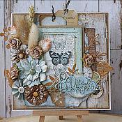 Открытки ручной работы. Ярмарка Мастеров - ручная работа Открытка с голубыми бабочками. Handmade.