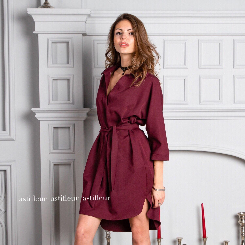 6fa195d5ee73f Платья ручной работы. Ярмарка Мастеров - ручная работа. Купить Платье  рубашка бордо.