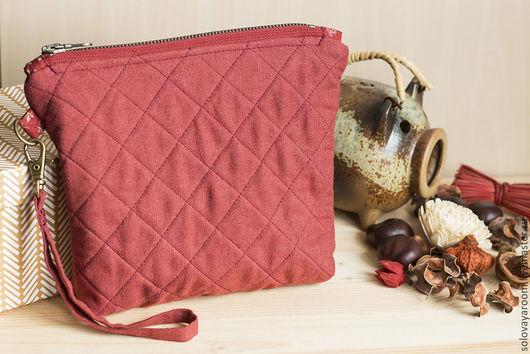 Женские сумки ручной работы. Ярмарка Мастеров - ручная работа. Купить Льняная терракотовая сумка-косметичка. Handmade. Однотонный, клатч